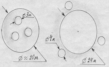 Рис 4. Явное соответствие форм летающей тарелки (слева) рисунку кругов в поле