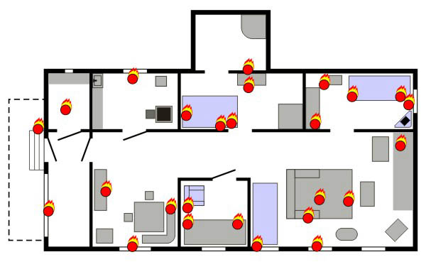 Схема очагов возгораний в доме