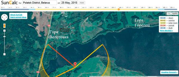 Заход (красная линия слева) и восход Солнца (желтая линия справа) 25 мая 2015 года. Данные сервиса suncalc.net